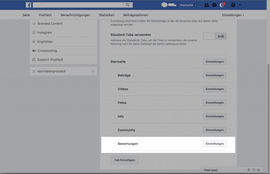 Facebook Bewertung ausblenden