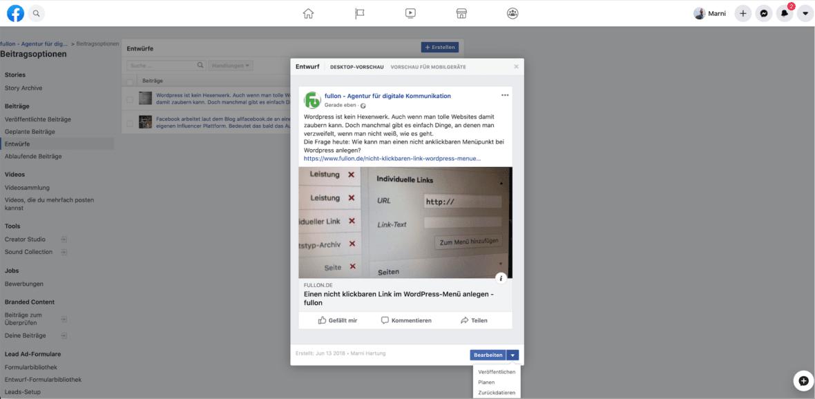 Facebook Entwurf bearbeiten